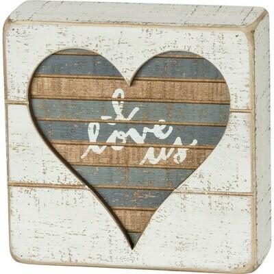 I Love Us Heart Slat Box Sign