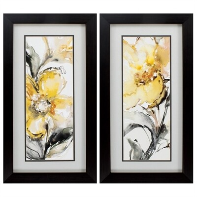 Golden Flower Framed Wall Art Set/2
