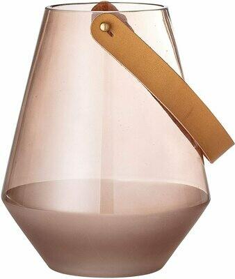 Glass Lantern w/ Leather Handle, Smoke Sm
