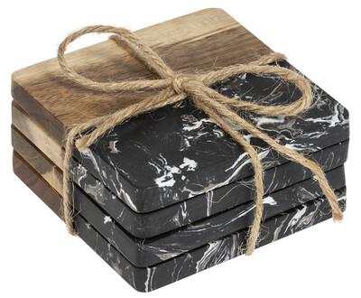 Black Marble & Acacia Wood Coaster Set