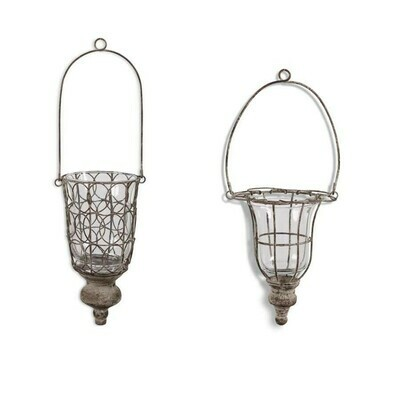 Gray Washed Wire & Glass Hanging Holder Lg.