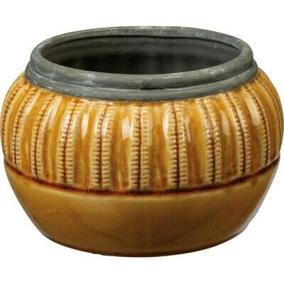 Round Saffron Stripe Pot