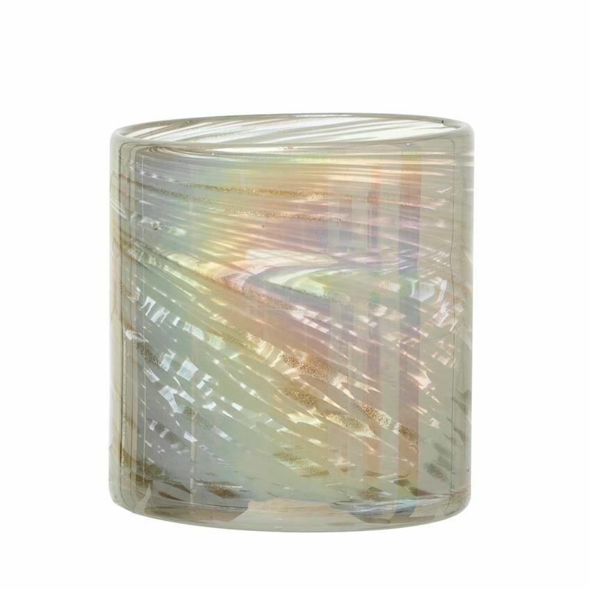 Iridescent White Glass Votive Holder