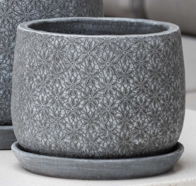 Small Marguerite Large Round Planter - Etched Grey
