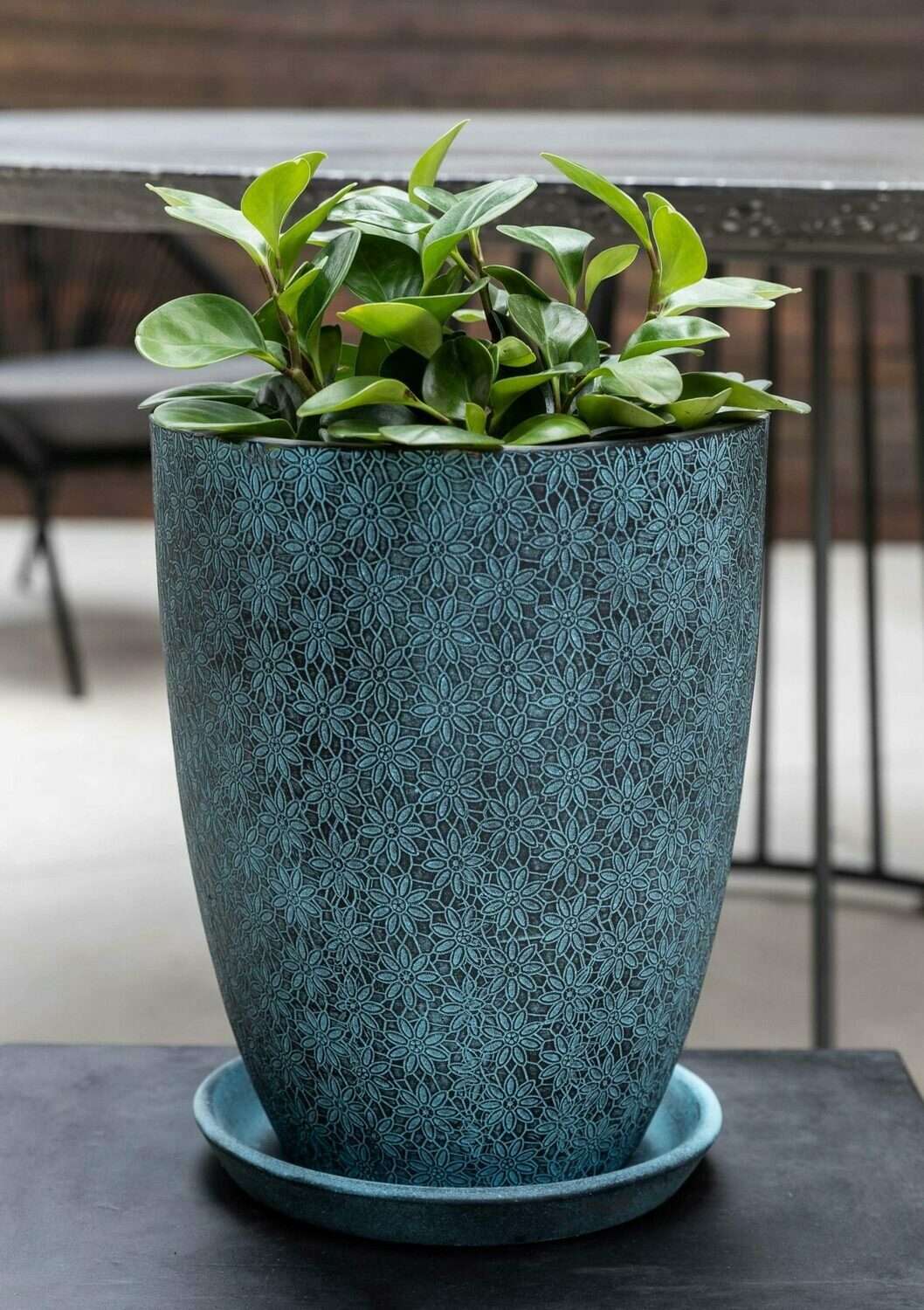 Marguerite Tall Tapered Planter - Etched Blue
