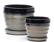 Bolts Petits Pot w/ Attached Saucer, Black - Large