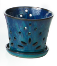 Orchid Pot w/ Attached Saucer Blue
