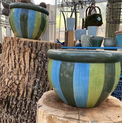 Blue Green Striped Planter