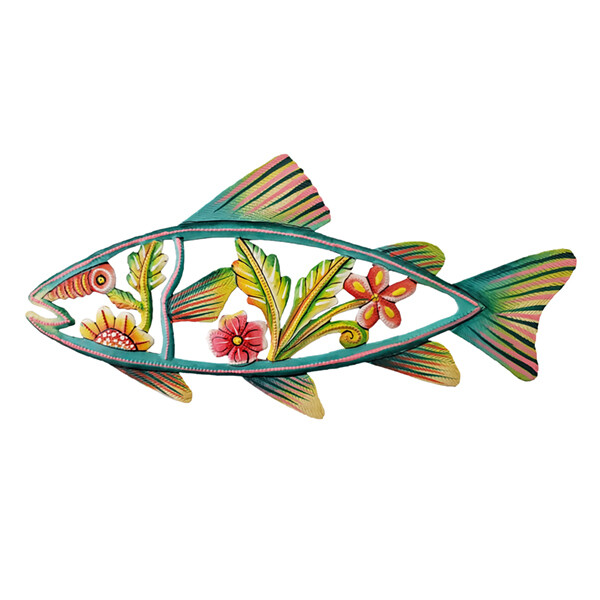 """Painted Flower Fish 12""""x5.5"""""""
