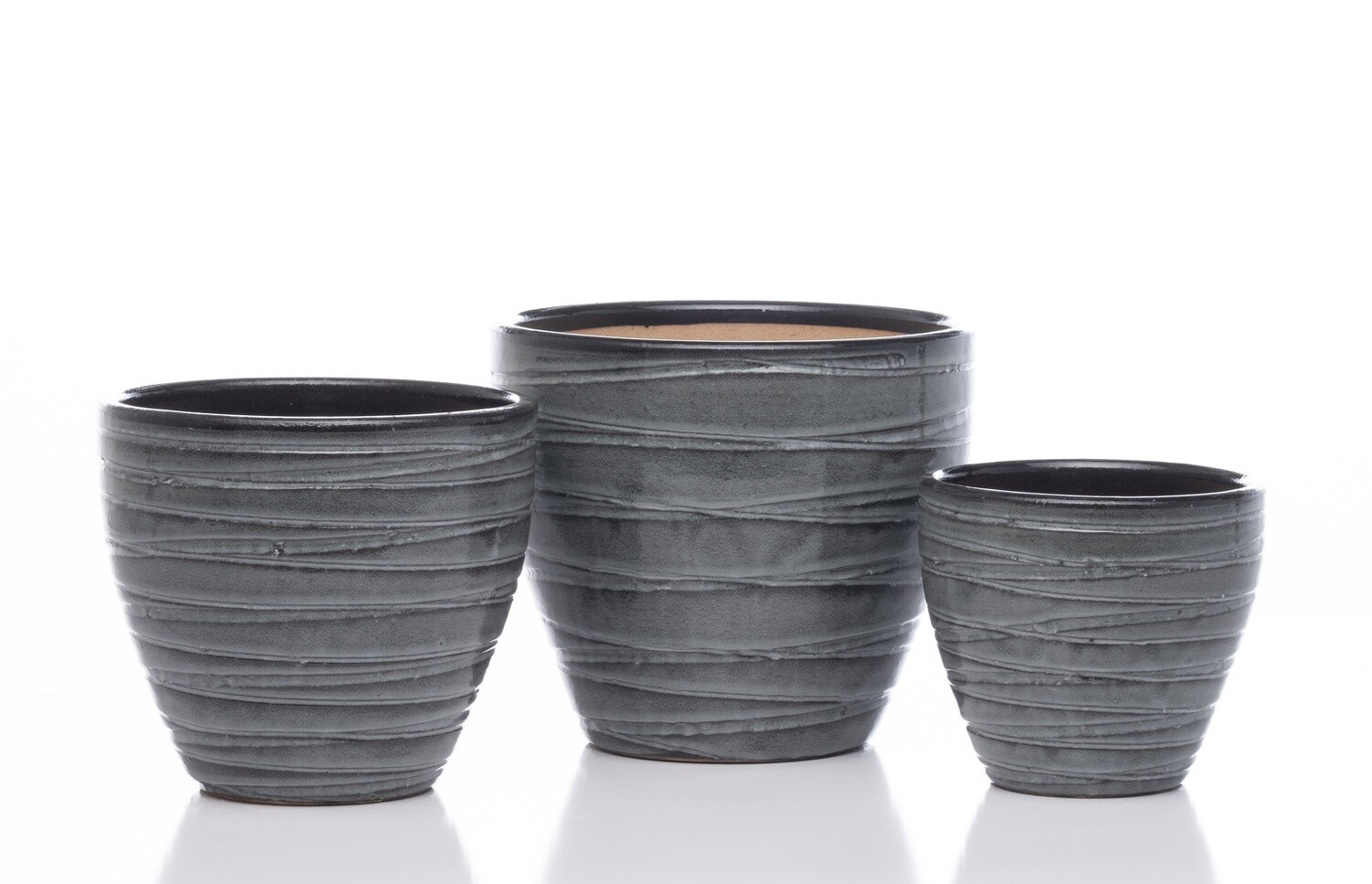 Grooved Egg Short Planter - Tropic Grey - Small