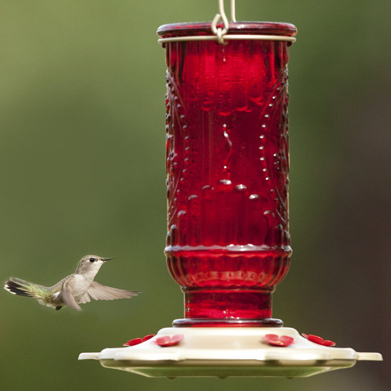 Red Vintage Hummingbird Feeder