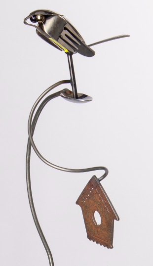 Metal Silverware Garden Stands - Brew Bird