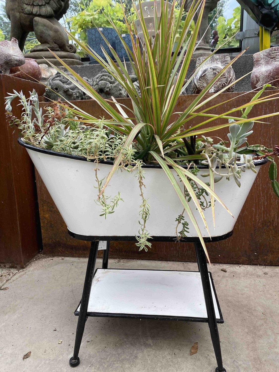 Standing Tub Planter - Dracena Spike and Succulents