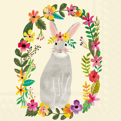 Cocktail Napkins - floral bunny