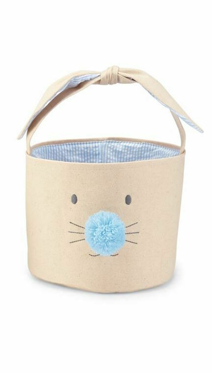 Bunny Face Easter Basket Large - blue
