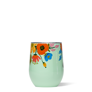 Corkcicle Stemless wine glass - mint lively floral