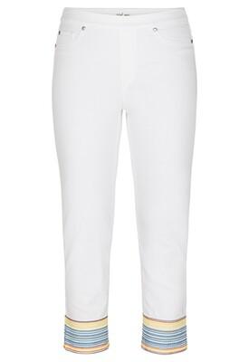 Tribal White Jean Colorful Bottom
