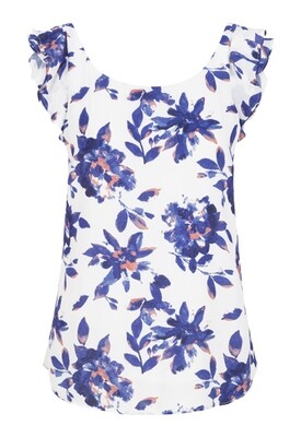 Tribal Bluewave Floral Top