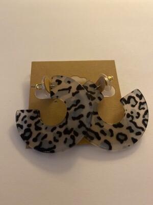 Blue Cheeta Tort Hoops