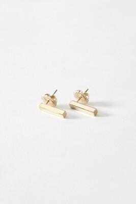 SD Gold Vert. Bar Earring - Sm