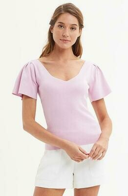 Marie Oliver Pleat Sleeve Knit Blouse - Lilac