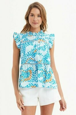 MO Tia Tiered Blouse - Dizzy Blue