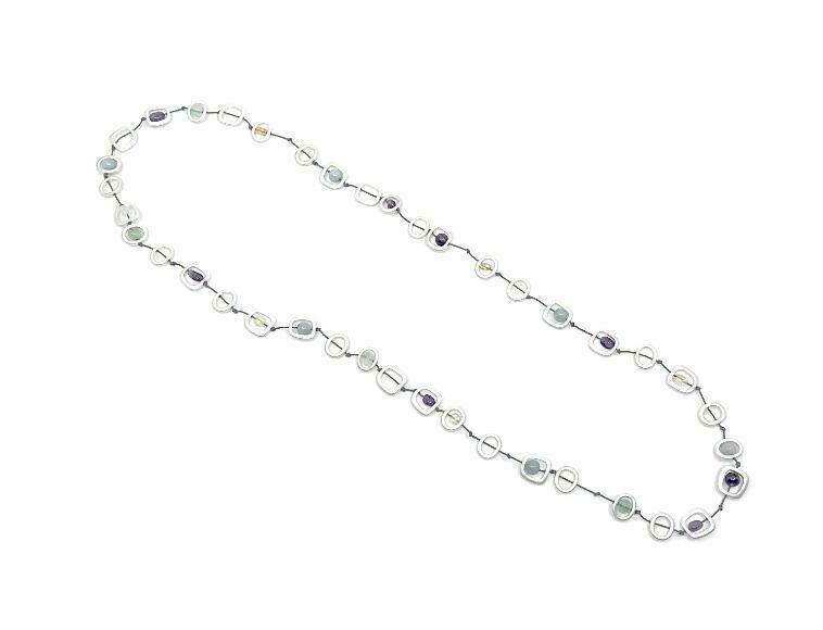 Geo stones silver necklace long