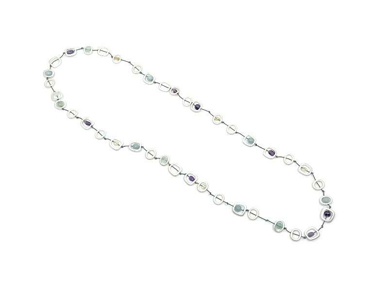 Geo stones silver necklace long