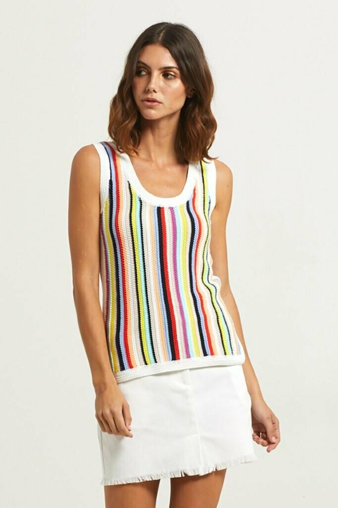 Marie Oliver Crochet Stripe Tank - L