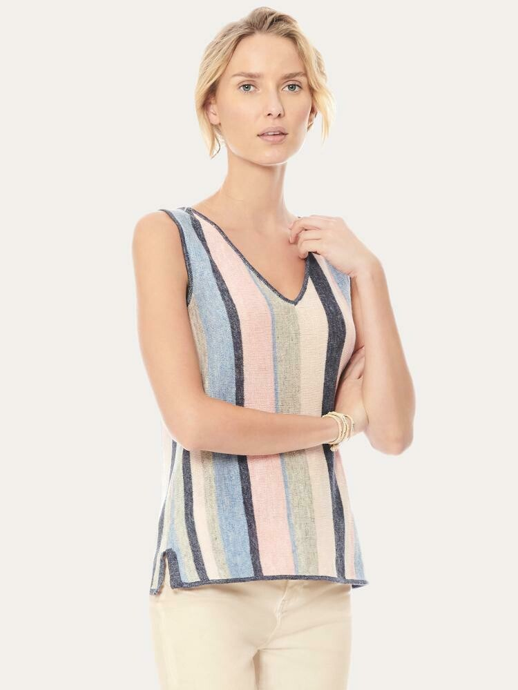 Ecru Striped Linen V Neck - l