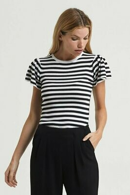 Marie Oliver Flutter sleeve knit top black/white stripe - XL