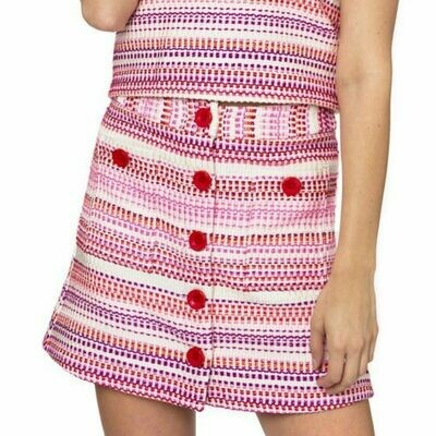 Julie Brown Pink Stitch Tweed Skirt - 10