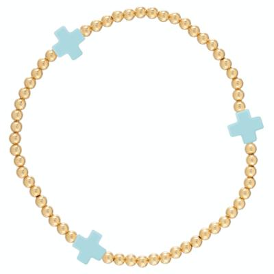 eNew signature cross bracelet gold turquoise