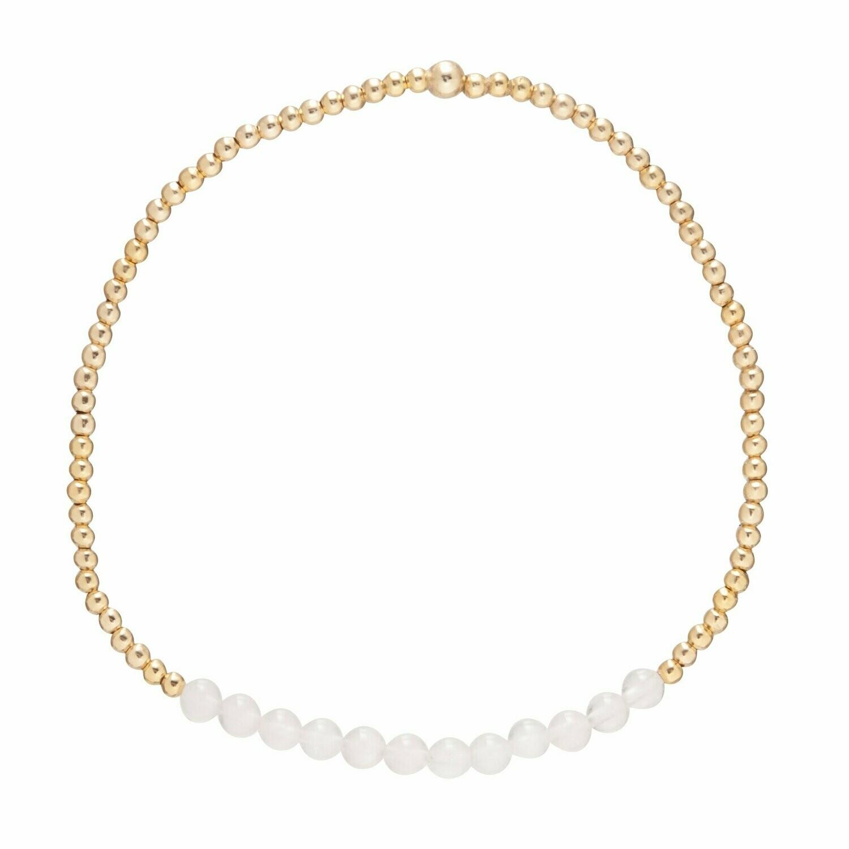 eNew gold bliss 2mm bracelet rose quartz
