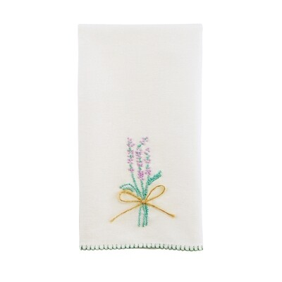 French knot tea towel - lavender