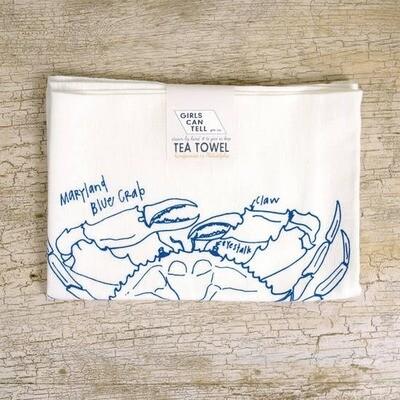 GCT Tea Towel - blue crab