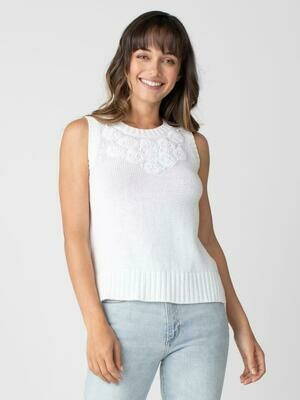 Margaret O'Leary Embroidered Tank White