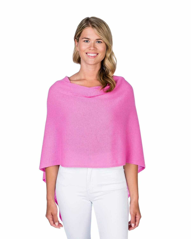 Cotton/Cashmere Tassel Poncho - Bermuda Pink