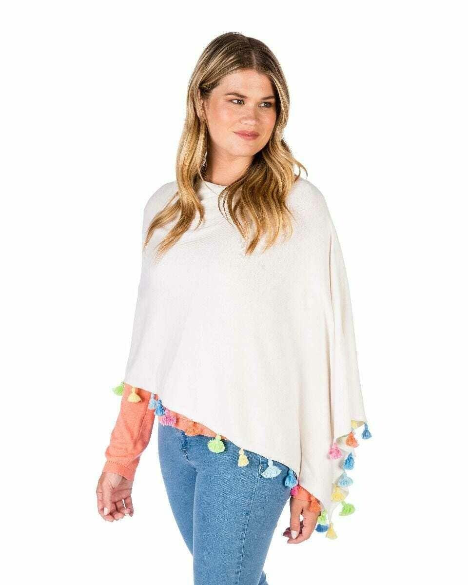 Cotton/Cashmere Tussle Poncho - White Combo