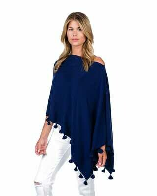 Cotton/cashmere tassle poncho - midnight