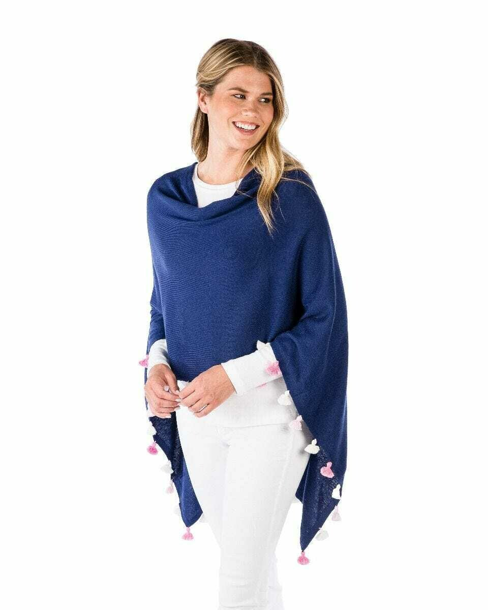 Cotton/cashmere tassle poncho - midnight combo