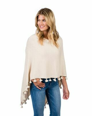 Cotton/cashmere tassle poncho - dune