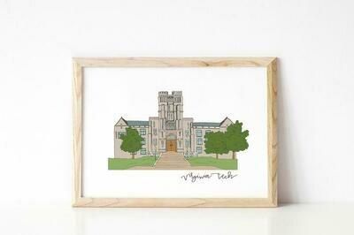 VA Tech Campus Print