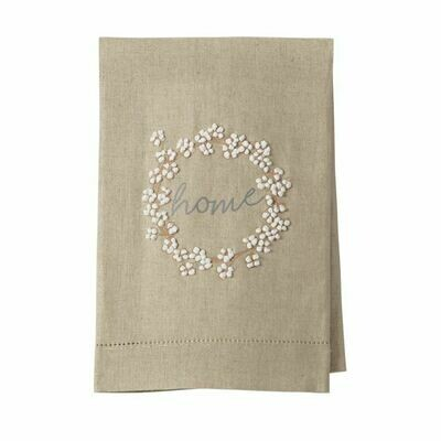 MP french knot tea towel - cotton wreath