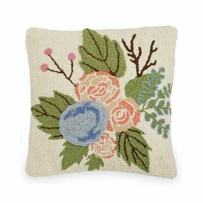 Square Floral Hook Wool Pillow