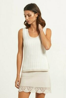 MO Knit White Ash Striped Tank - m