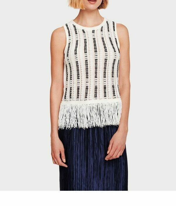 WW Fringe Detail Black White Tank - m