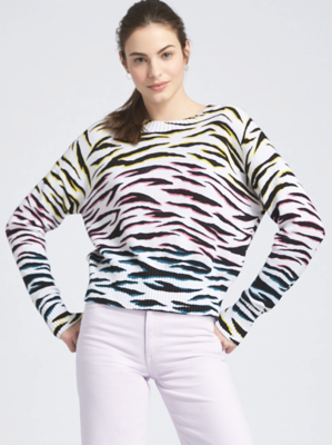 525 Neon Zebra Relaxed Pullover