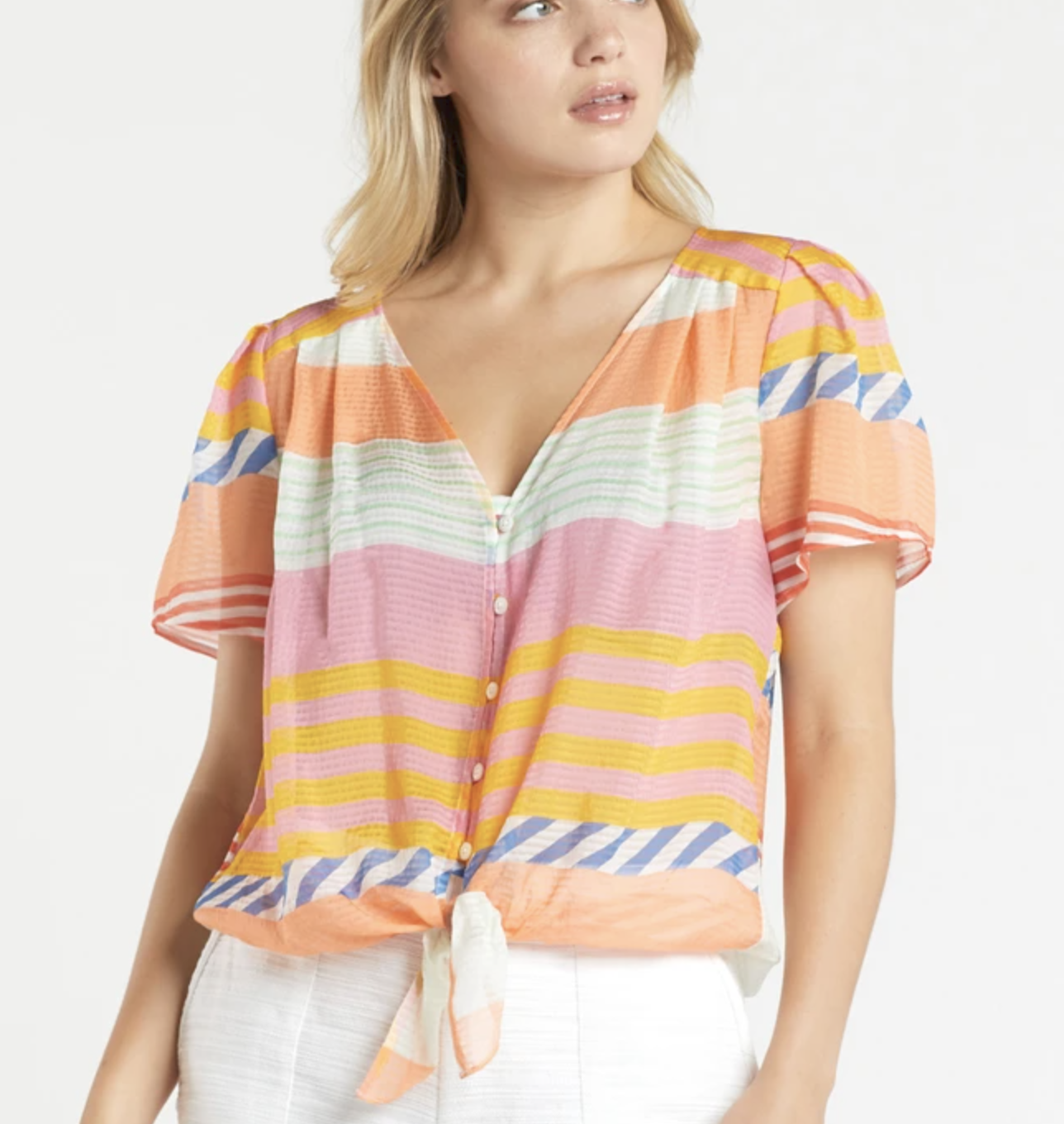 MO Kami Knotted Blouse Pastel Stripe