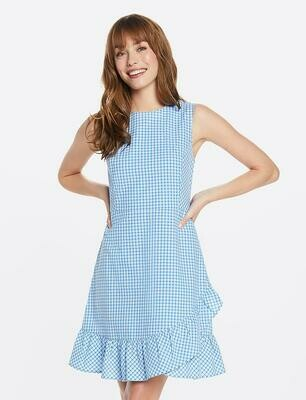 Draper James Seesucker Gingham Faux Wrap Dress